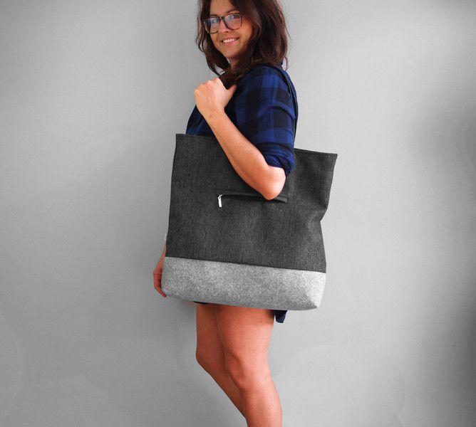 SHOPPER BAG 02 pojemna szara torba na ramię - Torebki-Filcowe-Purol-Design - Torebki