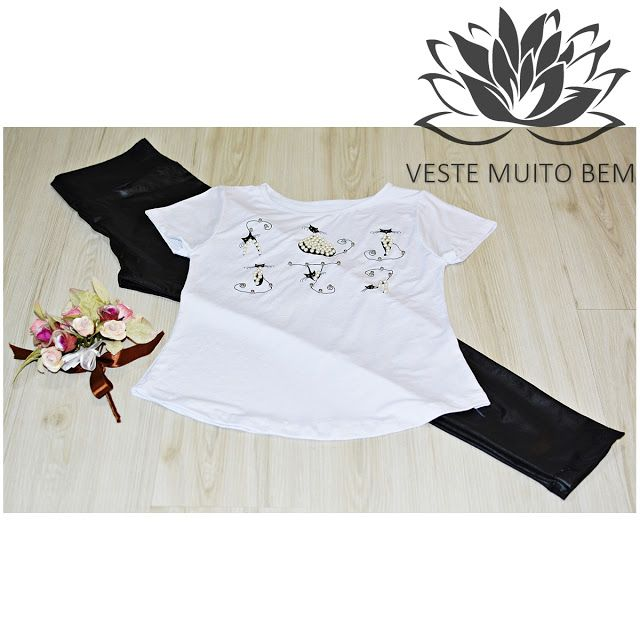 Camiseta com Gatinho Bordado  Calça Flare Cirre  #vestemuitobem #moda #modafeminina #modaparameninas #estilo #roupas #lookdodia #like4like #roupasfemininas #tendência #beleza #bonita #gata #linda #elegant #elegance