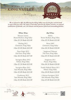 Wines of the King Valley wine menu