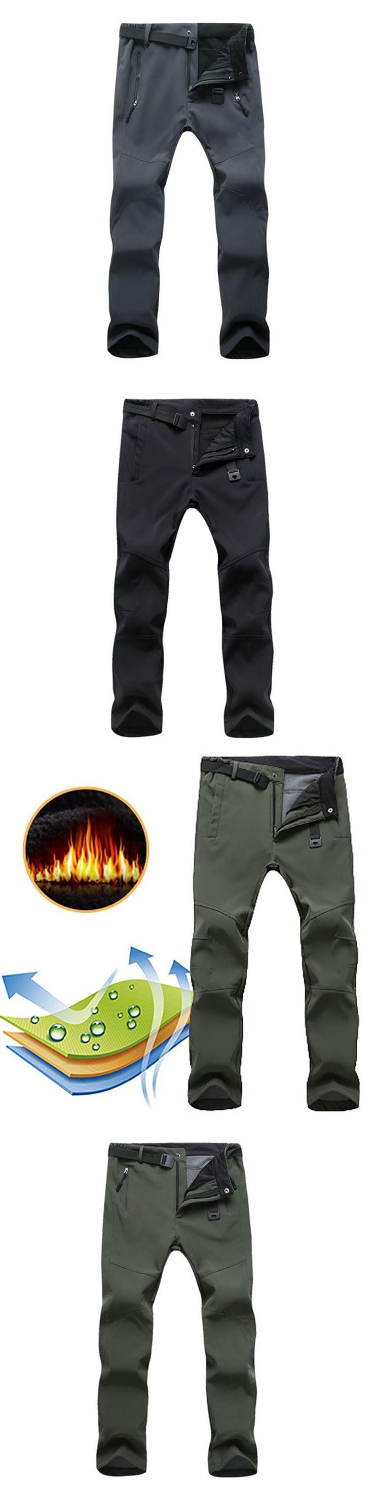 New Men Winter Warm Pants Waterproof Casual Fleece Shark Skin Softshell Trousers Windproof Men's Work Pants