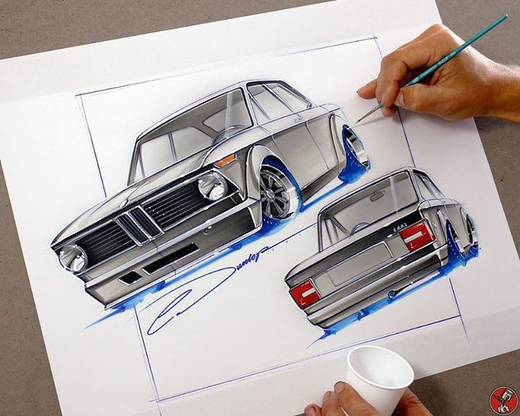 Starting the day with a couple custom BMW 2002 sketches to get warmed up- pretty cool that these cars have become a cult classic. Pen/Ink/Acrylic on Illustration Paper, this Original is Available #bmw #2002 #design