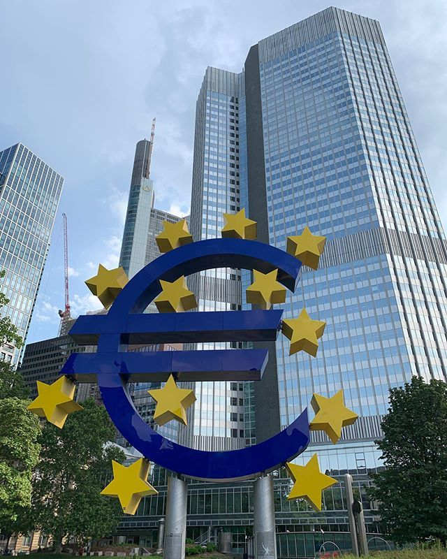 Greetings From Frankfurt Heres The Big Euro In The Financial District Of Germany Weve Arrived Safe And Sound After Th Financial District Train System Germany