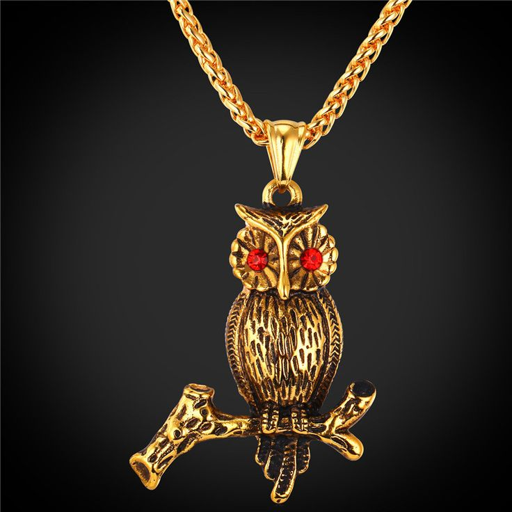 U7 Vintage Women Owl Necklace 18K Gold Plated Stainless Steel Chain For Men Women Animal Owl