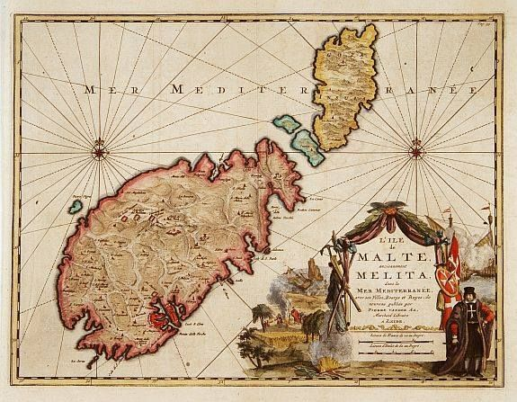 """June 1, #MaltaMapMonday offers us as wonderful 18th century map by A.A. P.v.d., """"L'ile de Malte, anciennement Melita,"""" published in Leiden, c.1728. The map was published in """"La galerie agréable du Monde"""", and note the fine cartouche with naval scenes."""