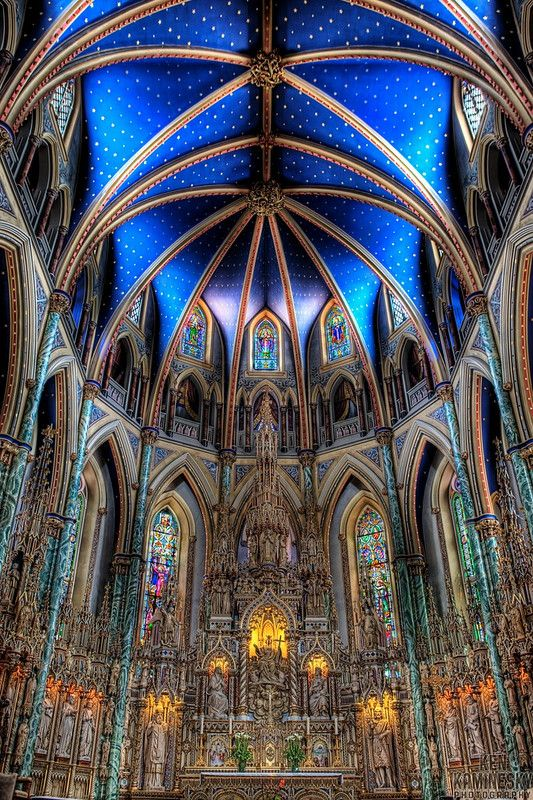 The Notre-Dame Cathedral Basilica is an ecclesiastic basilica in Ottawa, Canada located on 375 Sussex Drive in the Lower Town neighbourhood. The Basilica is the oldest church in Ottawa and the seat of the city's Catholic archbishop.