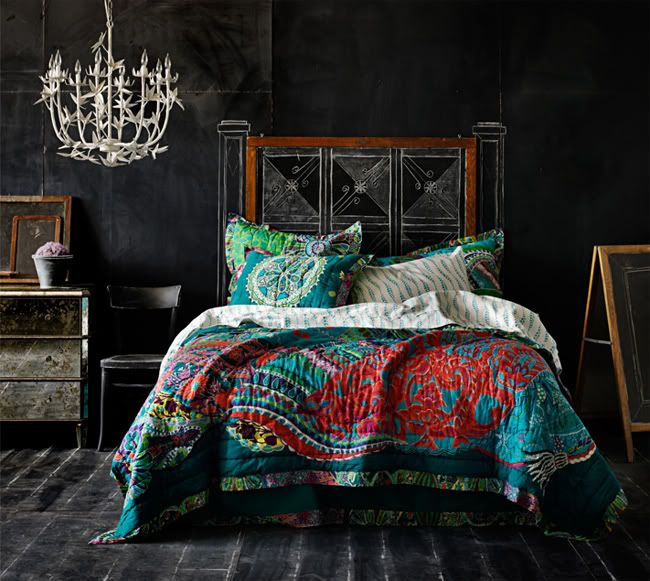 Anthropologie Bedroom With Chalkboard Walls And Colorful Bedding.