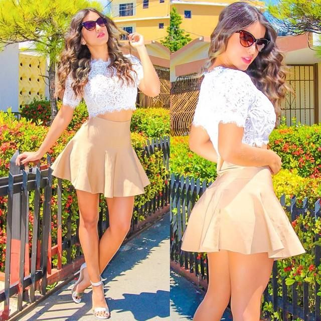 Beige Mini Trumpet Skirt With Crochet Crop Top