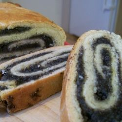 Traditional poppy seed strudel I now make every Christmas to satisfy the German contingent.  Notice that the poppy seeds come in mouthfuls, not sprinkles.  Poppy seed products (bagels, muffins, etc.) in the US seem merely decorated with poppy seeds.  No such trouble here.