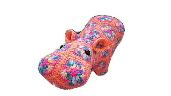 Peach  Pink  Rainbow Colors  Crochet Hippo