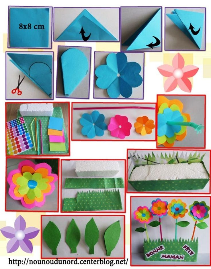 *2013* Lison qui est une grande fille de 6 ans a réaliséen découpage des jolies fleurs très colorées, piquées dans un support en polystyrène recouvert de papier à motif. C'est le cadeau pour ...