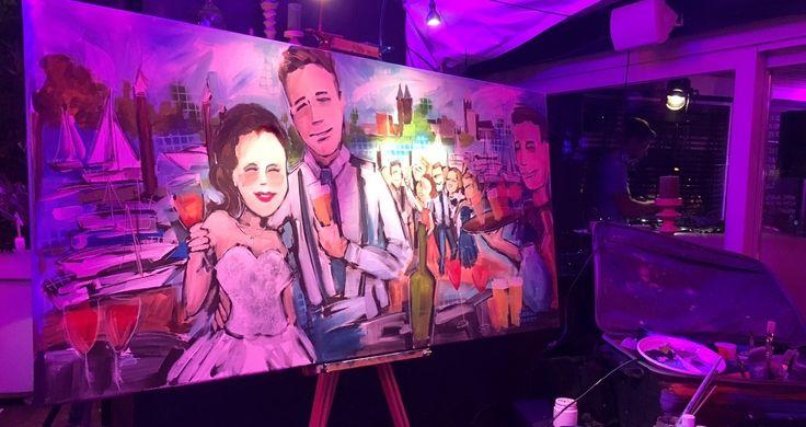 Live paint door Peggy van Gurp op een prachtige bruiloft aan het water met uitzicht op de skyline van Roermond en heerlijke sneakers van bruid