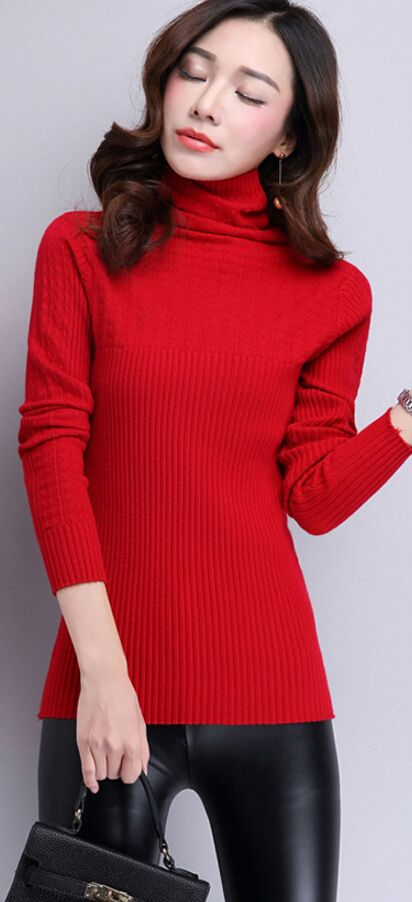 Turtle-neck woolen sweater, casual knit sweater, korean knit sweater, yellow sweater from korea