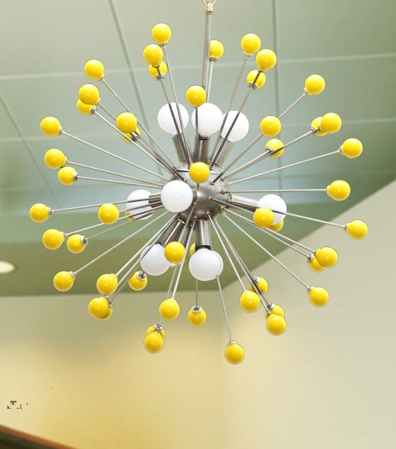 Midcentury Modern Atomic Sputnik light fixture on Etsy-need a happy face on each little yellow ball.