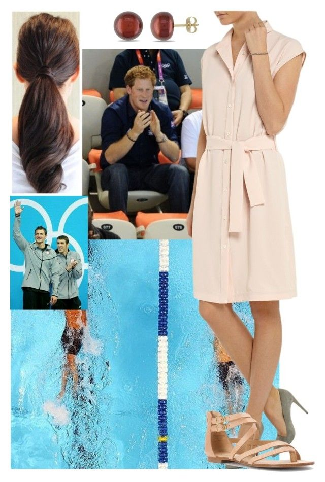 """""""Watching the swimming competition with Prince Harry and meeting Ryan Lochte and Michael Phelps"""" by deborawinter ❤ liked on Polyvore"""