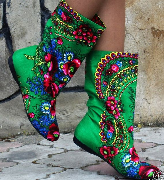 Fashion Cute Ornament Traditional Green Boho Bohemian Luxury Summer Floral Flower Women  Boots