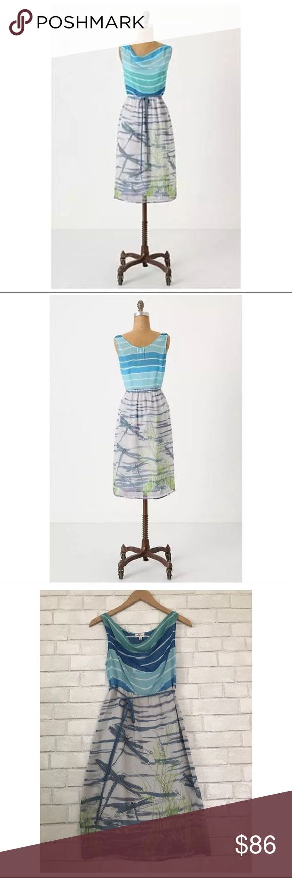 """'Darting Dragonfly' We Love Vera Silk Dress Sz. 6 Gorgeous Anthropologie 'Darting Dragonfly' We Love Vera Silk Chiffon Dress, Sz. 6.   """"Fast flyers whiz from blade to blade beneath a clear blue horizon.""""  * Polyester, acetate lining * Belt included * Side zip * Machine Wash * Retailed $148 Anthropologie Dresses Maxi"""