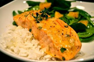 Roasted Salmon with Orange Thyme Vinaigrette. Yum!