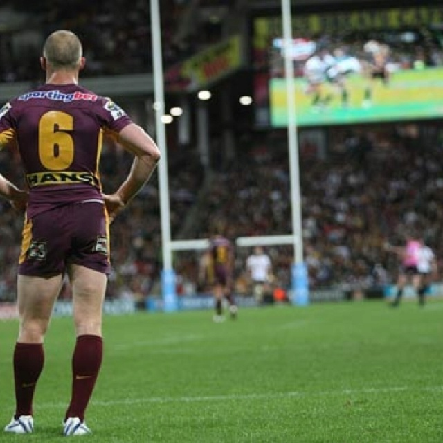 Darren Lockyer looking over Suncorp Stadium as he plays one of his final games. What. A. Legend.