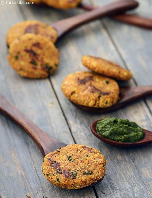 Oats Moong Dal Tikki recipe   by Tarla Dalal   Tarladalal.com   #35288