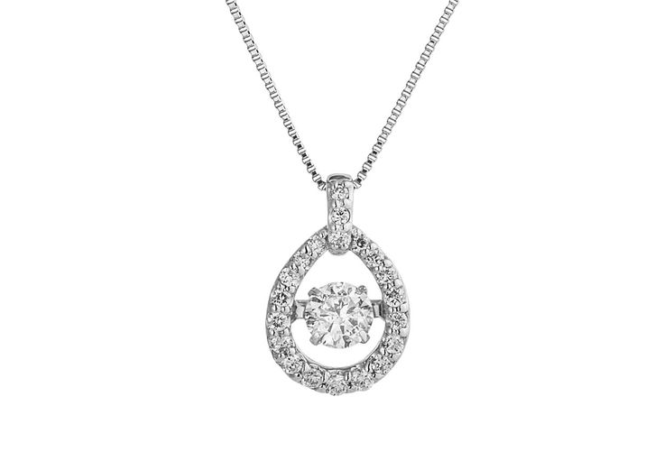 An 18ct White Gold and Dancing Diamond Pendant