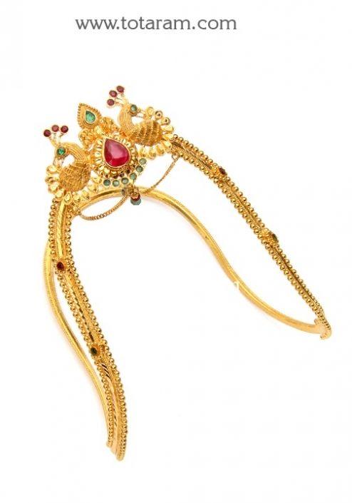 22K Gold 'Peacock' Arm Vanki - Ara Vanki: Totaram Jewelers: Buy Indian Gold jewelry