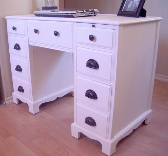 white desk with cup pulls | PAPERWORK PLEASE - 1951 cherry wood desk