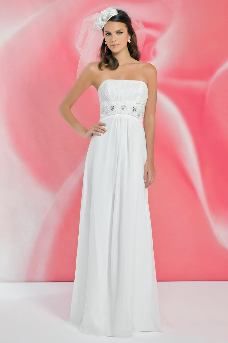 Elegant A-line Strapless Beading Ruching Floor-length Chiffon Wedding Dresses $259.99 #aline #ruching #mywedding #dresses #wedding #bridalgown #floorlength #chiffon #strapless #bridal #weddingdress #beading #elegant
