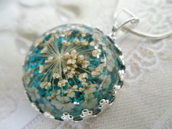 Peace-Domed Turquoise & White Queen Anne's Lace Atop Glowing Turquoise Background-Real Pressed Flower Crown Pendant-Symbolizes Peace