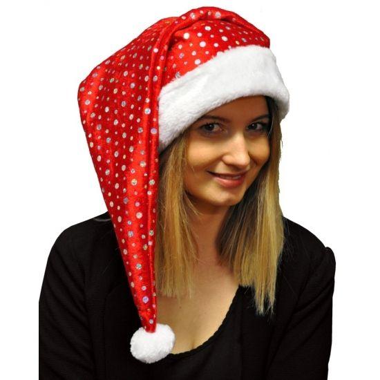 Glitter kerstmuts met pailletten  Glitter kerstmuts met pailletten. Leuke rode kerstmuts met zilveren pailletten. De kerstmuts is geschikt voor volwassenen. Formaat: ongeveer 60 x 30 cm.  EUR 4.99  Meer informatie