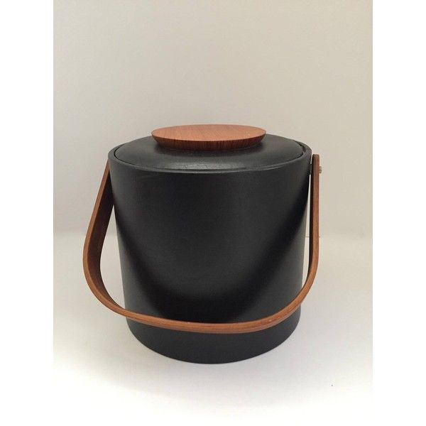 Georges Briard Black Vinyl and Teak Ice Bucket ($31) ❤ liked on Polyvore featuring home, kitchen & dining, bar tools, georges briard ice bucket, teak ice bucket, black ice bucket, georges briard and black bucket