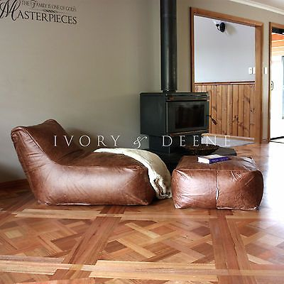 Leather Look Beanbag Large Tan Deluxe Lounger Chair Ottoman Bean Bag Footstool