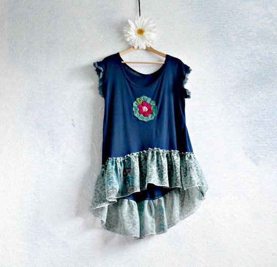 Navy Blue Ruffled Tunic Eco Fashion by BrokenGhostClothing on Etsy