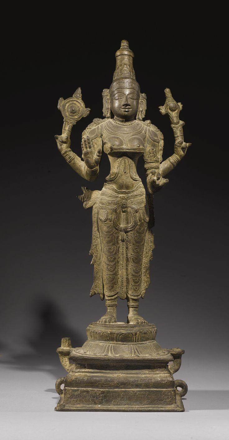 "Durga<br>Copper alloy<br>South India, Vijayanagar period | lot | Sotheby's 21-1/2"" 14 C USD 37,500"