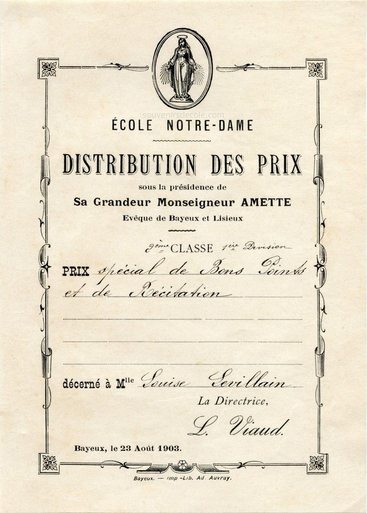 Distribution des prix cole notre dame bayeux louise levillain 1903 pictures - Point p bayeux ...