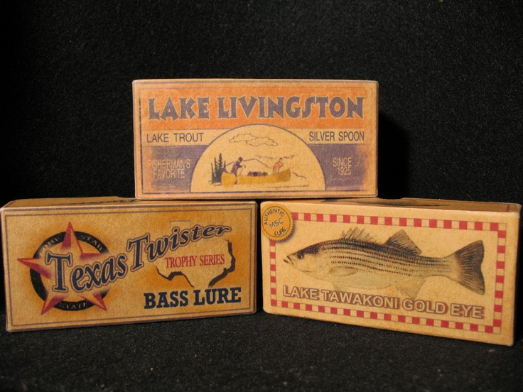 Texas lakes fishing lure boxes cabin decor any texas for Fishing lure decor
