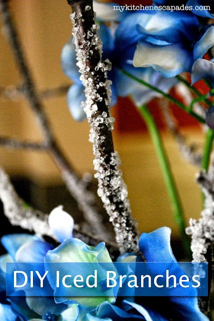 DIY Ice Covered Branches: perfect for wedding centerpieces or for your Christmas decorating.  Made for just pennies!