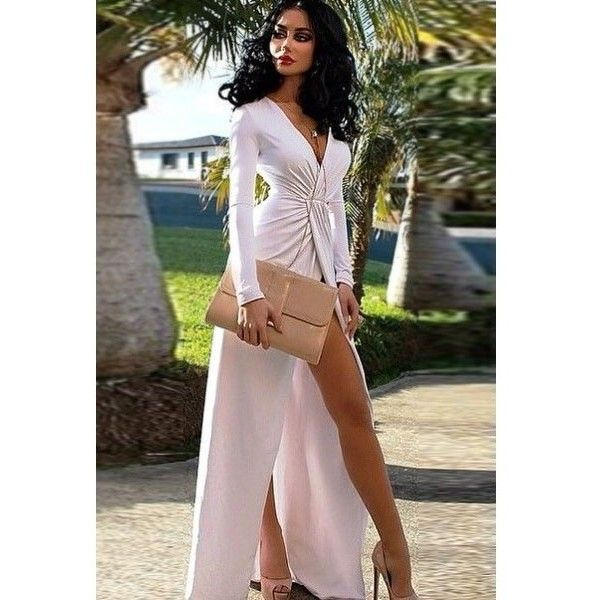 Deep V-neck Split Long Sleeve Maxi Dress ($8.10) ❤ liked on Polyvore featuring dresses, sexy deep v neck dress, sexy going out dresses, going out dresses, night out dresses and holiday party dresses