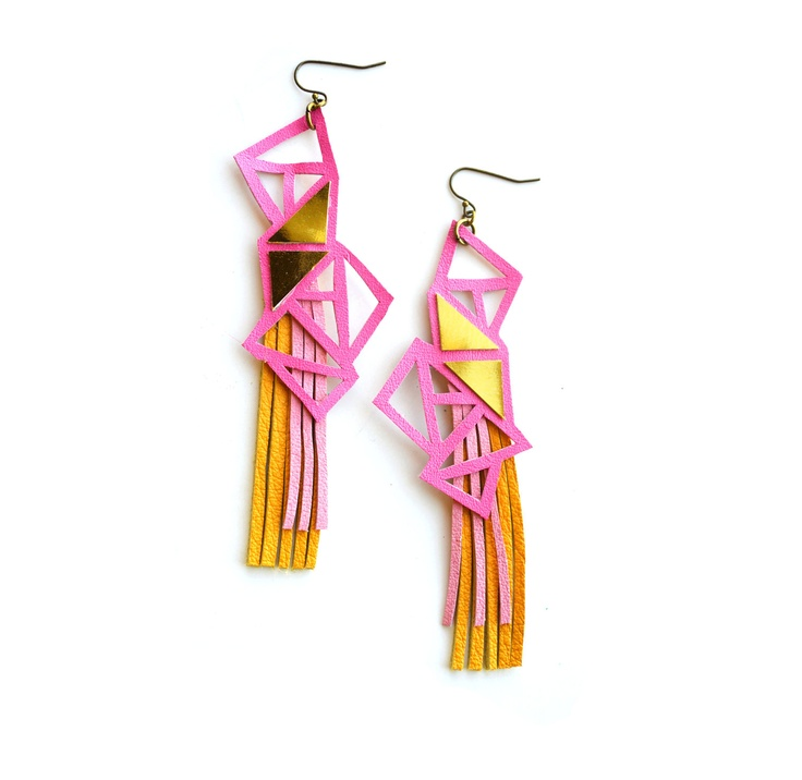Triangle Geometric Earrings Neon Galatica