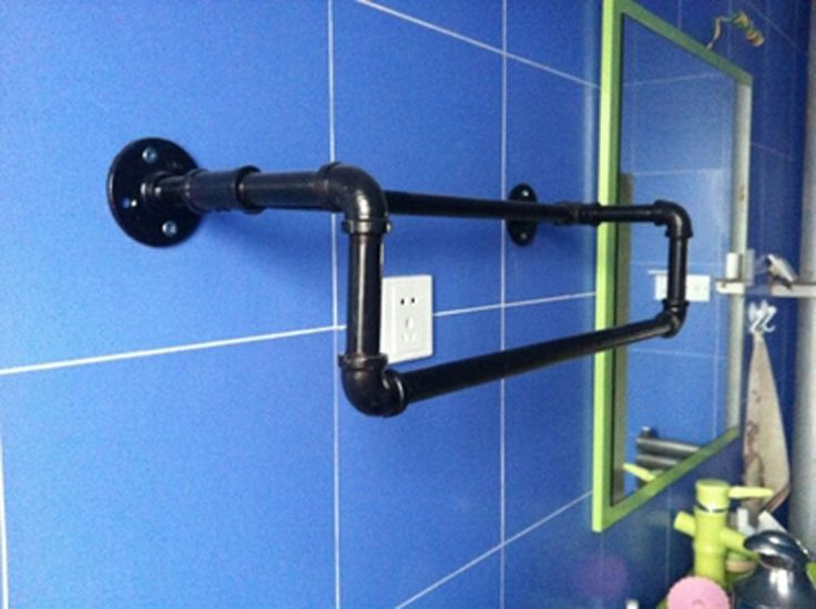 Industriële amerikaanse vintage waterleiding opknoping staaf dubbele handdoek bar holder badkamer accessoires(China (Mainland))