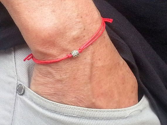 silver infinity tube men bracelet with red wax cord - adjustable men's bracelet…