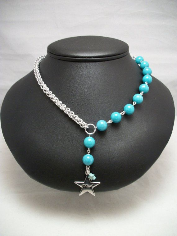 Asymmetrical Aqua Blue Mtn Jade Chainmaille Necklace by GypsyGrove, $30.00