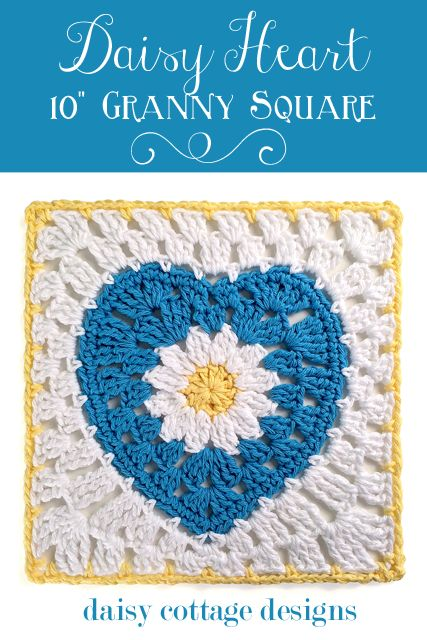 """10"""" Crochet Square with Daisy Center from Daisy Cottage Designs #free #crochet #Pattern"""