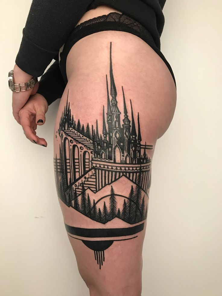 Magick castle thigh piece (NSFW) by Thieves of Tower 2Spirit Tattoo Los Angeles