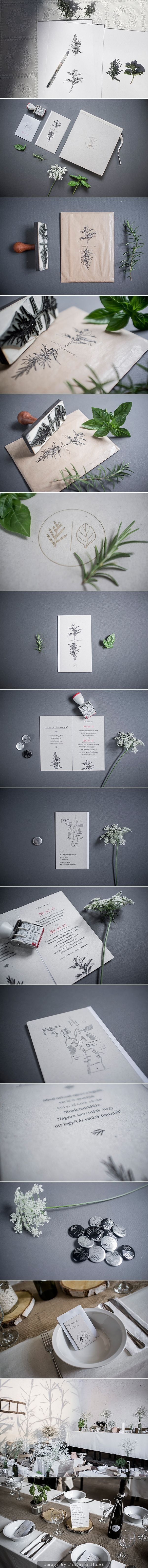 Beautiful ways to incorporate rubber stamps in a wedding invite. Zsofis wedding by Eszter Laki