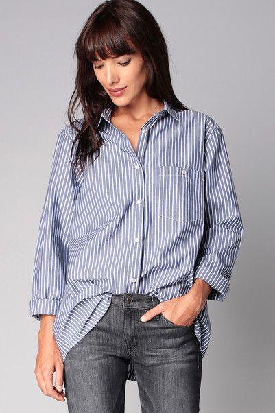 Chemise rayée oversize manches longues Lilou Bleu Best Mountain sur MonShowroom.com