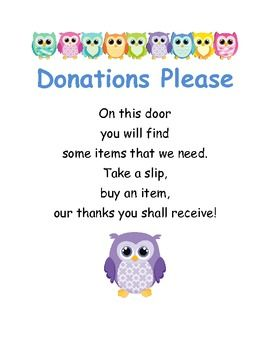 Classroom Donations Please Owls --- something like this for open house???