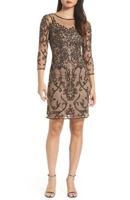 86ae1178 PISARRO NIGHTS Designer Embellished Mesh Sheath Dress   Avivey ...