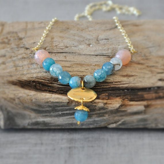 Aqua Blue Agate Necklace  Blue Gemstone by stellacreations on Etsy