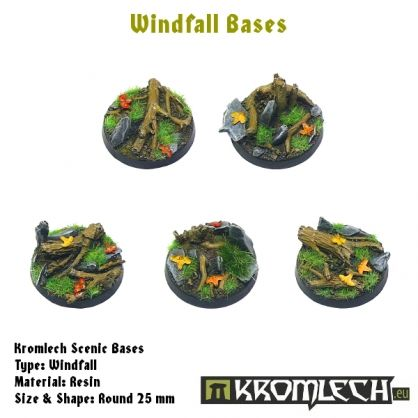 This set contains 10 round 25mm scenic bases. Windfall theme.
