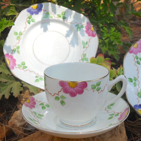 Pretty Hand Painted 1930s Fine English Bone China Trio Set - Tea Cup, Saucer and Side Plate - Pink and Purple Flowers with Green Leaves